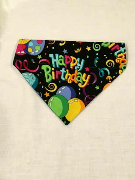 Over Collar Slide On Pet Dog Cat Bandana HAPPY BIRTHDAY MEDIUM $2.95