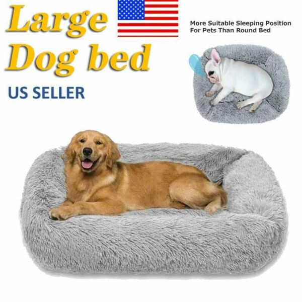 Long Plush Dog Beds for Large Dogs Pet Cat Calming Beds Cushion for Anti Anxiety $18.79