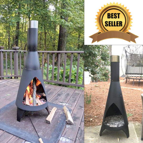 Outdoor Chiminea Patio Fire Pit Steel Chimenea Fireplace Wood Burning Heater New