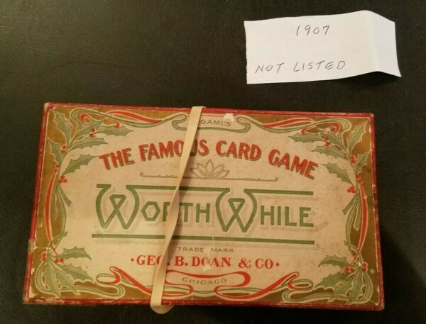 Extremely Rare Antique Worth While Card Game Geo B. Doan amp; Co. Chicago In Box
