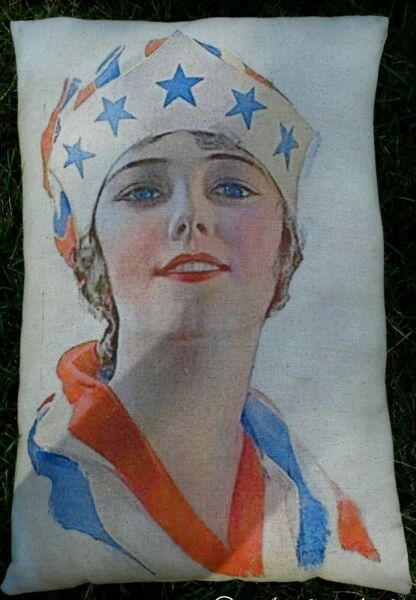 Antique vintage 4th of July independence day flag liberty patriotic pillow