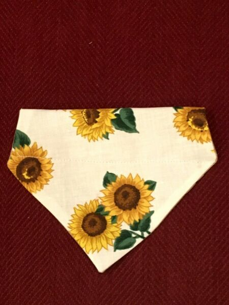 Over Collar Slide On Pet Dog Cat Bandana Scarf SPRING SUNFLOWERS SMALL $2.35