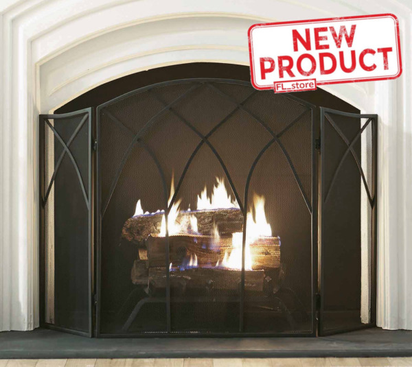 3 Panel Steel Fireplace Screen Gothic Style Fire Protection W Handles Black NEW
