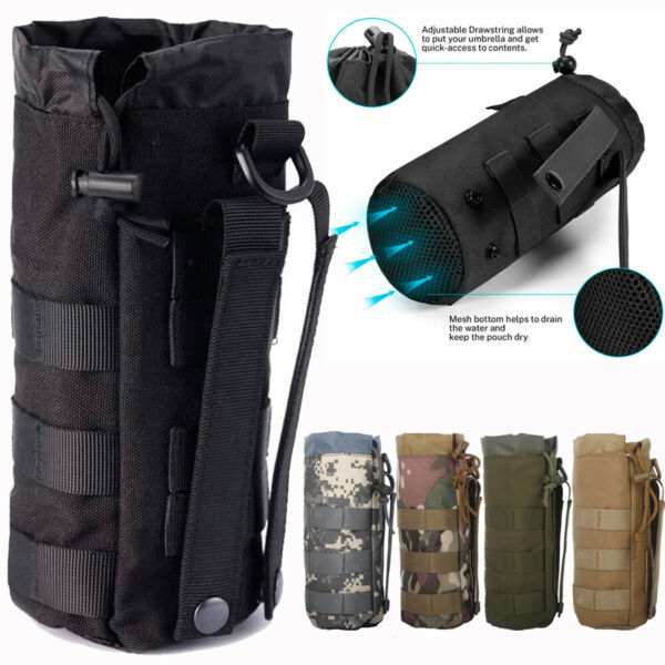 Tactical MOLLE Water Bottle Pouch Drawstring Open Top Travel Water Bottle Holder $9.99