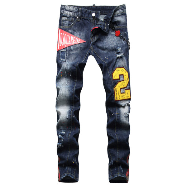 Dsquared2 Men#x27;s Fashion Frayed and Painted Zipper Decoration Slim Jeans $64.85