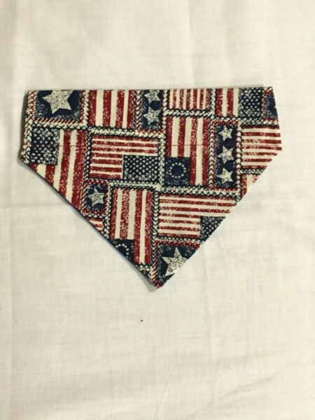 Over Collar Slide On Pet Dog Cat Bandana 4TH JULY RED WHITE BLUE FLAGS MEDIUM $2.95