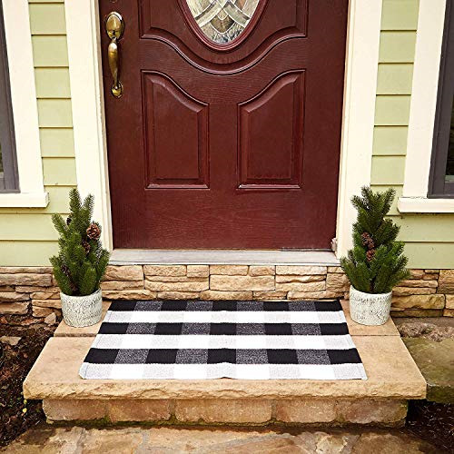 Buffalo Plaid Rug 24quot;x36quot; Check Outdoor Door Mat Black and White Checkered