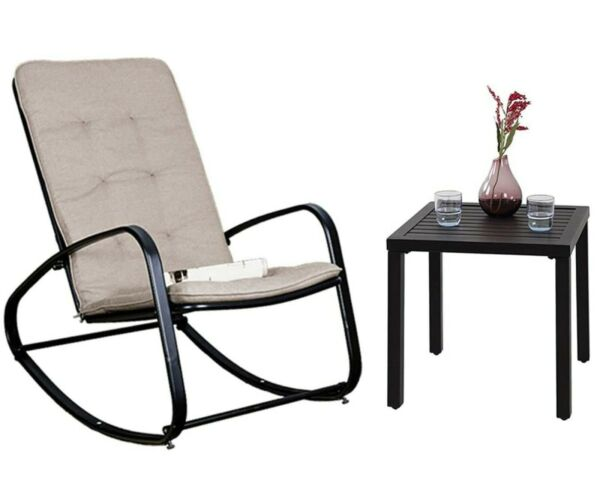 2 Pcs Patio Bistro Set Metal Steel Outdoor Furniture Rocking Chair and Table $139.99