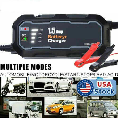 1500mAh Smart Car Battery Charger Maintainer for 12V AGM GEL Battery Vehicles $19.94