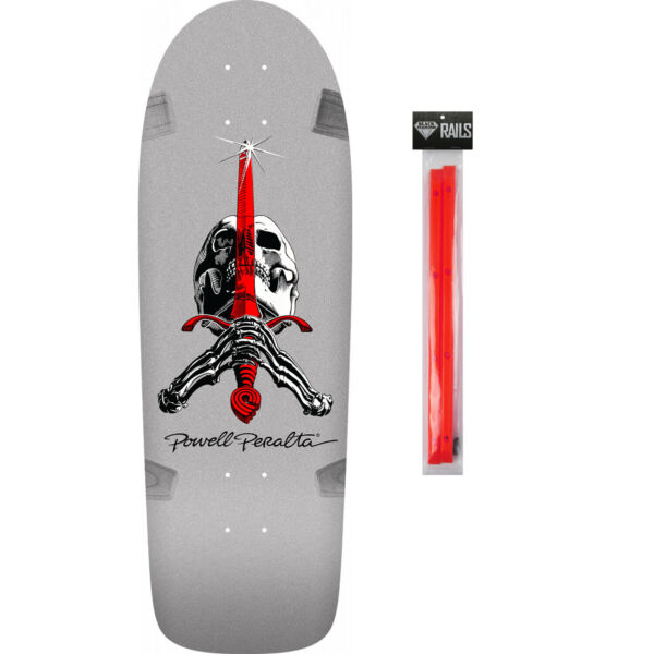Powell Peralta Skateboard Deck Skull and Sword Silver Red Rails $89.95