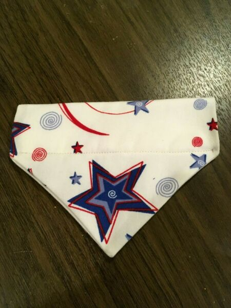 Over Collar Slide On Pet Dog Cat Bandana Scarf 4TH JULY STARS SMALL $2.35
