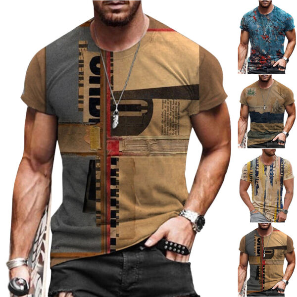 Mens Vintage Printed Short Sleeve T Shirt Blouse Summer Casual Fitness Tops Tee
