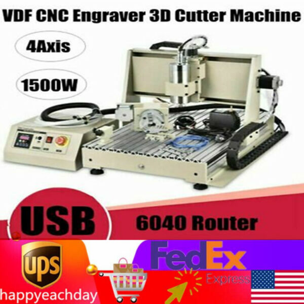 USB CNC ROUTER 6040Z 4 AXIS ENGRAVER ENGRAVING MACHINE METAL WOODWORK 1500W VFD $1080.00