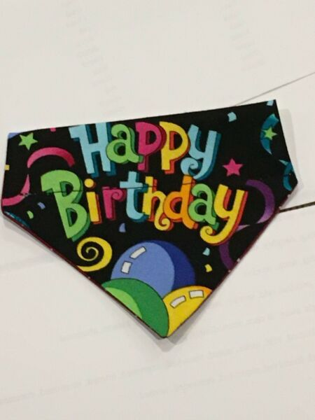 Over Collar Slide On Pet Dog Cat Bandana Scarf HAPPY BIRTHDAY XSMALL $2.25