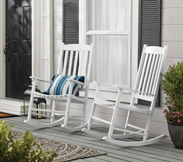 Outdoor Wood Porch Rocking Chair White $102.50