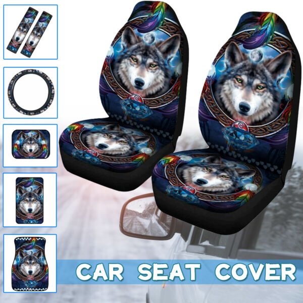 Dog Pattern Universal Car Front Seat Covers Floor Mats Forefoot Pad Comfortable $12.99