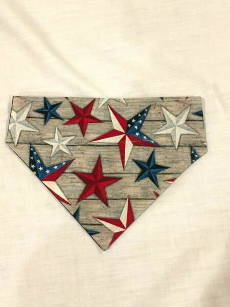 Over Collar Slide On Pet Dog Cat Bandana 4TH JULY STARS MEDIUM $2.95