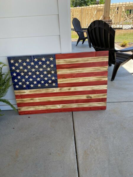 42quot;x26quot; Large Rustic Handcrafted American Flag Wooden