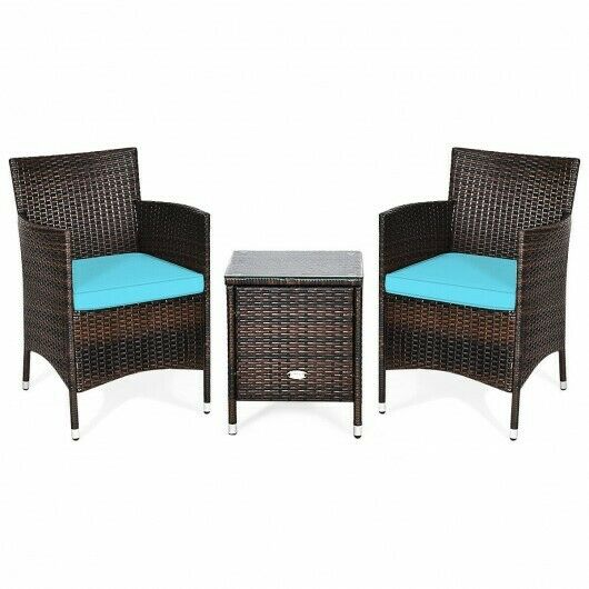 Outdoor 3 PCS Rattan Wicker Home Sets Chairs Coffee Table Garden Blue