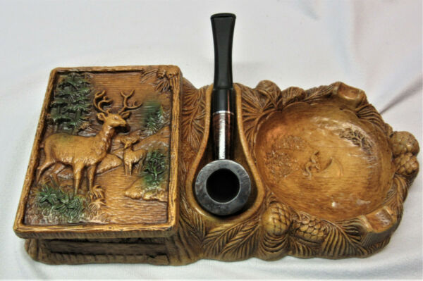 Mid Century Syroco Wood Pipe Stand w. Dr. Grabow quot;Larkquot; Imported Briar Pipe $25.00