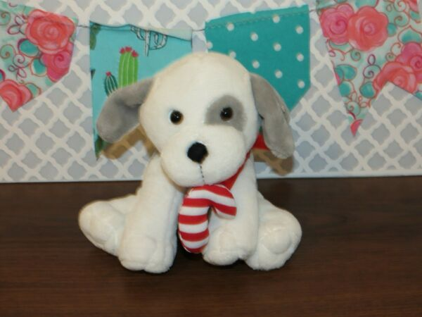 Animal Adventure Puppy Dog Gray White Candy Cane Bow 2015 Stuffed Plush Toy 9quot; $13.99