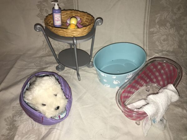American Girl Lot Dog Coconut With Bath Accessories And Furniture $18.99