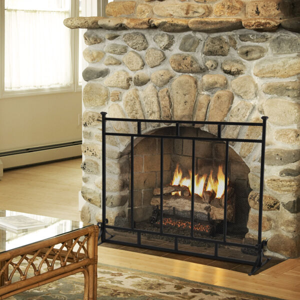 Large Single Panel Fireplace Screen Iron Safety Fire Durable Fence Free Standing