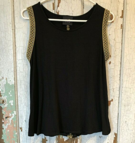 Anthropologie W5 Tank Top WOMENS SZ MED Black Tribal Embroidered Trim Sleeveless $19.98