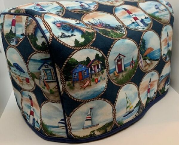 Lighthouse Boating Ocean Quilted Fabric 2 Slice or 4 Slice Toaster Cover NEW