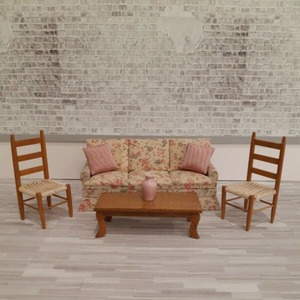 Dollhouse Miniatures 1:12 Couch Vintage Ladderback Chairs Coffee TablePillows