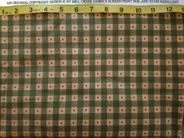 3 Yards PRIMITIVE CHECKS Checkered MILL CREEK Fabric Green Beige Red MATERIAL $11.95