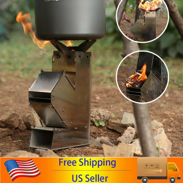 Rocket Stove Outdoor Wood Burning Stove Portable Burners Stainless Steel US H1K8