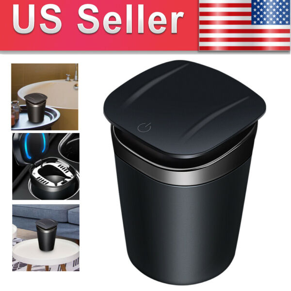 Car Portable Led Ashtray with Lid Cup Holder Travel Auto Cigarette Smoke Remove $11.97