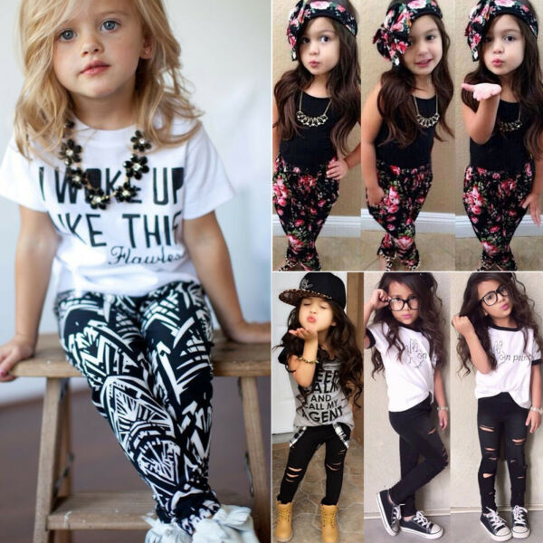 Toddler Baby Girls Clothes Set Floral T Shirt Tops Pant Kids Casual Outfits