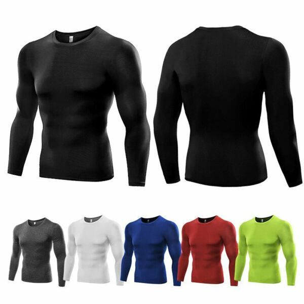 Men#x27;s Compression Under Shirt Tops Gym T Shirt Tights Athletic Tunic Long Sleeve $11.69