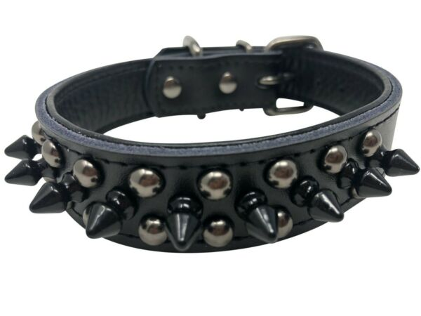 Dog PU Leather Collar Studded amp; Spiked 1quot; wide Black S M L $12.99