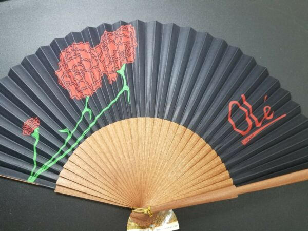 Wood Fan and Cotton Polyester Fabric. Hand Made In Valencia. Made In Spain. $20.00
