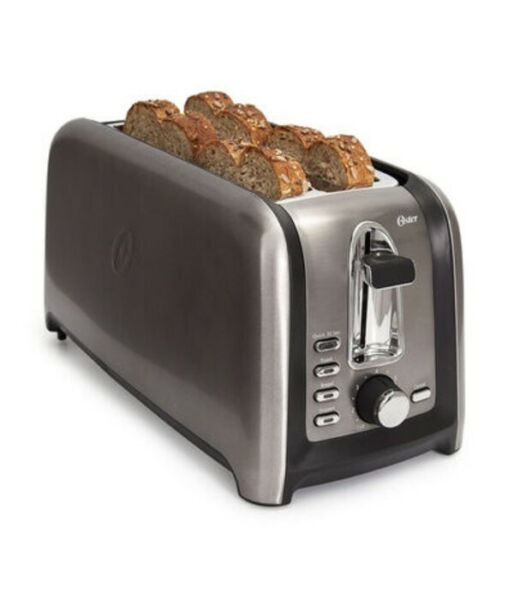 Oster 4 slice long slot black Toaster with Stainless steel