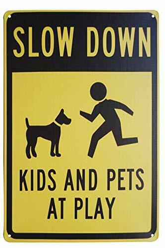 LASMINE Funny Dog Signs Slow Down Kids and Pets at Play Road Sign Indoor or O... $17.88