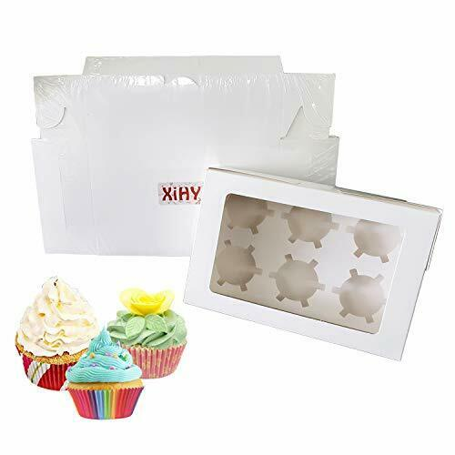 Cupcake Boxes 6 Count 10 SetWhite Cupcake Box Bulk with Removable Inserts and...