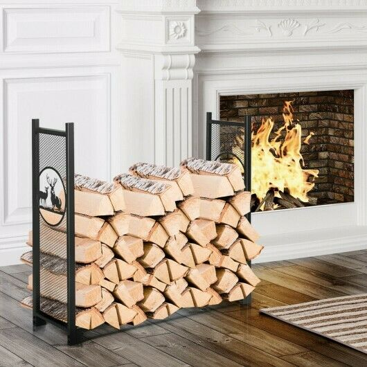 4ft Firewood Log Heavy Rack Duty Log Storage Holder for Fireplace Stove Fire Pit $79.90