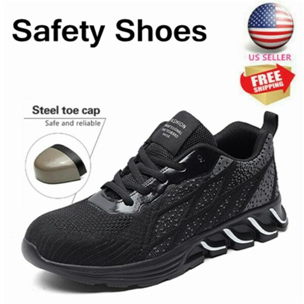 Mens#x27; Indestructible Safety Work Shoes Steel Toe Breathable Work Boots Sneakers $34.99