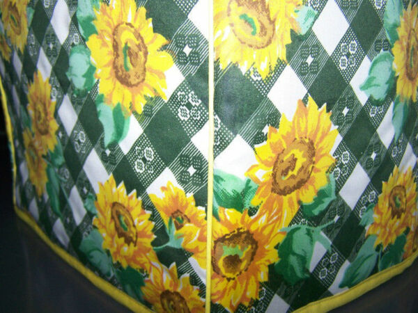 Green Lattice Sunflowers Quilted Fabric 2 Slice or 4 Slice Toaster Cover NEW