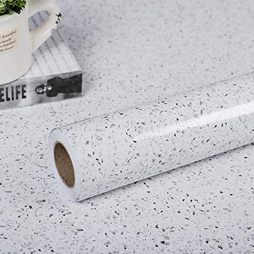 Glossy Marble Paper for Countertop Marble Peel and Stick Wallpaper Granite White