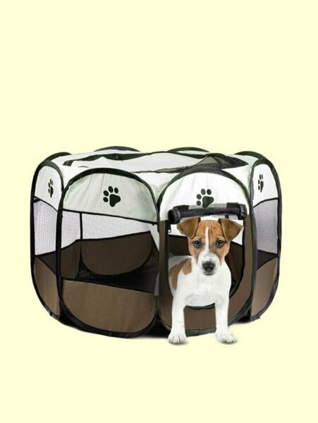 Portable Folding Pet Tent Dog House Octagonal Cage soft dog crates indoor dogs $29.99