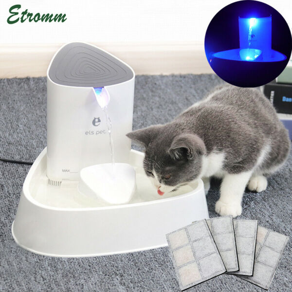 1.8L Electric Automatic Pet Dog Cat Water Fountain Drinking Bowl LED Dispenser $28.76