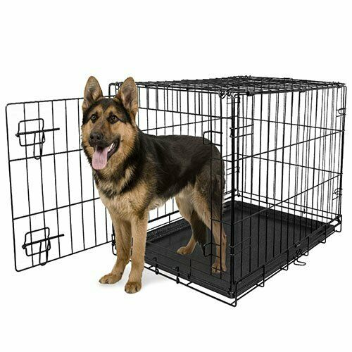 Extra Large Dog Crate Kennel 48quot; 24quot; 18quot; Folding Pet Cage Metal w Doors amp;Tray $25.00