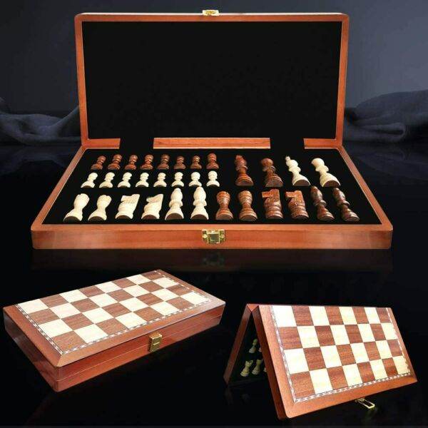 Wooden Chess Set 15quot;×15quot; Wood Board Hand Carved Crafted Pieces Made Folding Game