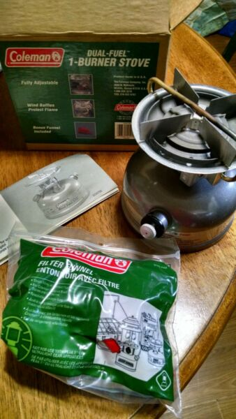 Coleman Stove Model DUAL FUEL 533 CAMPING STOVE w Funnel amp; Booklet Jen