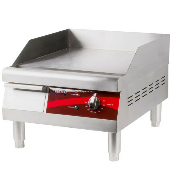 Electric Commercial Countertop Steel Flat Top Griddle Grill 16Inch 120V NEW